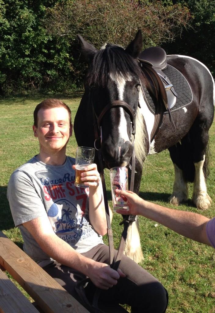 Arthur enjoying a lemonade at the pub